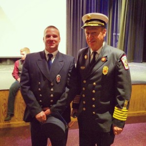 FF Adam Stone with Chief Chris Balentine at the Firefighter 1 & 2 Graduation